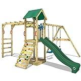 WICKEY Spielturm Kletterturm Klettergerüst mit Doppelschaukel und Rutsche 'Smart Bridge' - grüne Rutsche, grüne Plane