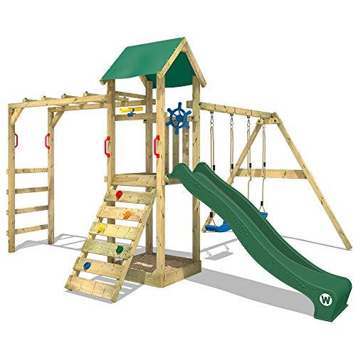 WICKEY Spielturm Kletterturm Klettergerüst mit Doppelschaukel und Rutsche \'Smart Bridge\' - grüne Rutsche, grüne Plane