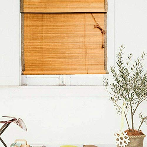 Nisorpa - Persiana de bambú 90 x 180 cm, enrollable de madera ajustable romana, persiana de privacidad con tirador lateral para puerta dormitorio interior y exterior