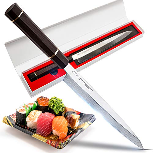 Seiryuu Pro Sashimi Series Yanagiba Knife - Japanese Sushi Knife, 280mm Damascus Steel Blade - Sharp Cutting Tool for Slicing & Filleting Fish, Salmon - Professional Grade Slicer Japanese Fish Knife