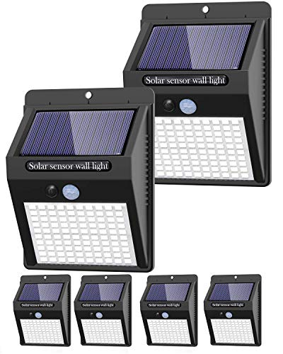 6 Pack Solar Lights Outdoor, 3 Modes/100LED Solar Security Lights Wireless IP65 Waterproof Solar Motion Lights Outdoor Solar Wall Lights Outdoor Lights for Front Door, Backyard, Garage, Deck…
