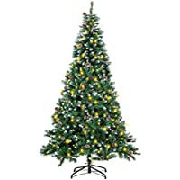 Intergreat 7 Ft Prelit Indoor/Outdoor Christmas Tree with Pine Cones, Metal Stand (Green/White)