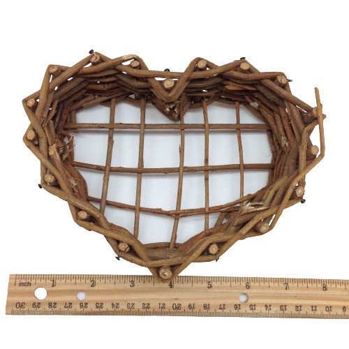 KARMELLING 1 PC Natural Grapevine Heart Baskets Wreath, 7 Inch