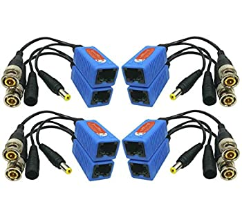 Igreeman 4 Pair Passive Video Balun BNC to RJ45 Adapter with Power  Upgraded Solution  Full HD 1080P-8MP Surveillance Security Camera Ethernet Cable Transceiver Cat5e/Cat6 Cable to BNC Male Connector