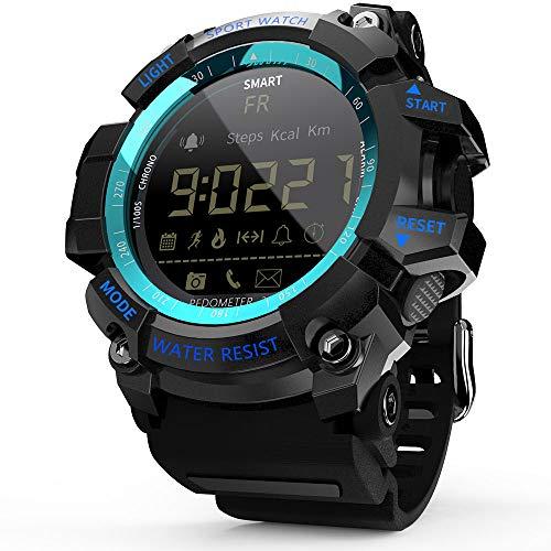 TOPTOO MK16 Reloj inteligente militar resistente para hombres y mujeres, 12 meses de duración de la batería IP67/5 ATM impermeable EL luminoso deportivo BT Smartwatch podómetro...