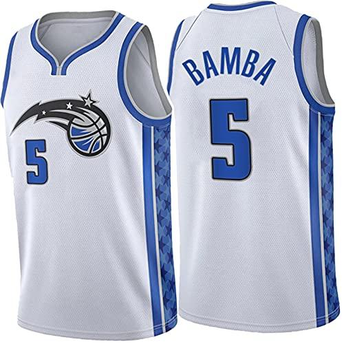 Magic 5# BAMBA - Camiseta de baloncesto para hombre, de moda, sin mangas, de malla, transpirable, de secado rápido, suave y suave, versión de recompensa, color blanco