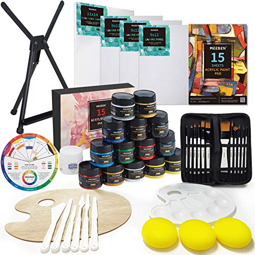 MEEDEN Painting Set, Large Acrylic Art Set with Aluminum Table Easel, 15×100ML Acrylic Paints, Stretched Canvas, Paint Brushes & Plastic Palette, Gift for Kids Teens and Adults