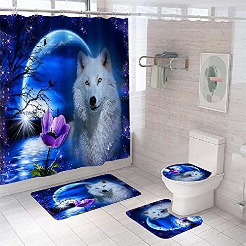 4-Teiliges Duschvorhang-Set für Badezimmer,Blau-lila Mondtier Wolf,rutschfest,WC-Vorleger + WC-Deckelbezug + Badematte + Duschvorhang mit 12 Haken,Badezimmerdekor