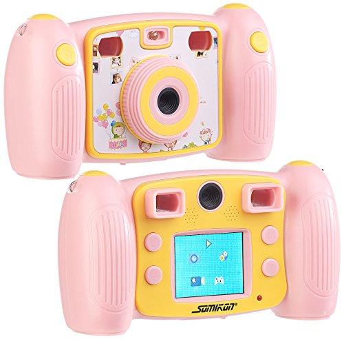 Somikon Fotoapparat: Kinder-Full-HD-Digitalkamera, 2. Objektiv für Selfies & 2 Sucher, rosa (Kamera Kinder)