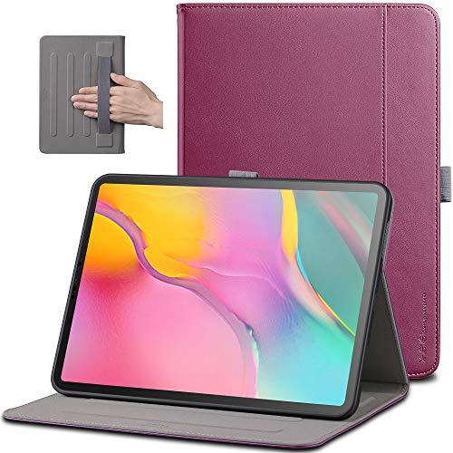 X-level Funda para Samsung Galaxy Tab A 10.1' 2019 SM-T510/SM-T515 con Portalápiz [Multiángulo] Trasera de TPU Suave con Bolsillo Funda para Modelo Samsung Galaxy Tab A 10.1' 2019, Vino Rojo
