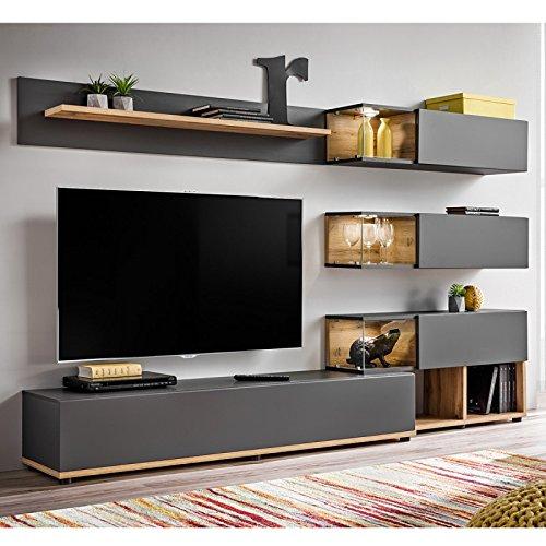 Paris Prix - Meuble TV Design Silk 240cm Gris & Naturel