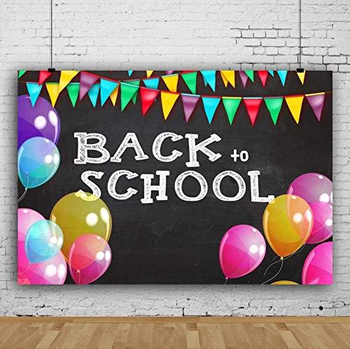Nuevo Bienvenido de Nuevo a la Escuela Pizarra Pizarra Pizarra Telón de Fondo 7x5ft Fotografía Fondo Colorido Púrpura Amarillo Verde Rosa Banderas Globos