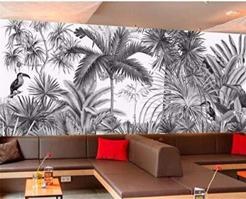 Behang vintage handgeschilderde zwart-wit getuft jungle muurschildering tv achtergrond muur 3d muurschildering-400 * 280cm