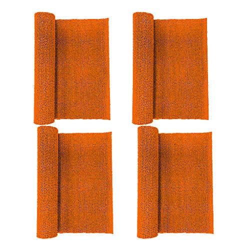 4 cajones antideslizantes de color naranja y estante fino en rollo no adhesivo resistente para cajones, estantes, armarios, despensas, oficinas, cocina y escritorios, organizador para el hogar