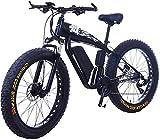 Bicicleta eléctrica Fat Tire de 26 pulgadas 48V 15Ah Snow E-Bike 21/24/27/30 Velocidades Beach Cruiser Hombres Mujeres Bicicletas eléctricas de montaña con freno de disco (Color: 15Ah, Tamaño: Negro)