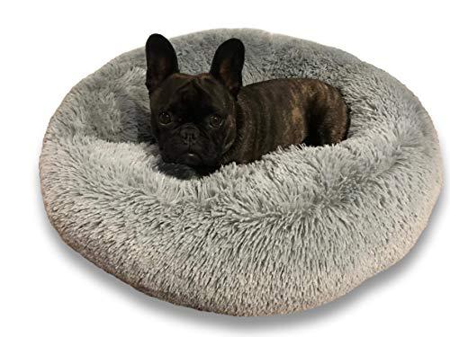 E-dogbed Exklusives weiches und kuscheliges Hundebett Fuzzy Ø 70 cm, Grau Katzensofa Hundehöhle Katzenhöhle Katzenbett Doughnut-Form Katzenliege Hundeliege Welpenbett Handmade in der EU