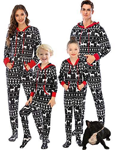 Men's & Women's Cozy Christmas Pajamas Party Onesie Hooded Romber Jumpsuit Reindeer,S
