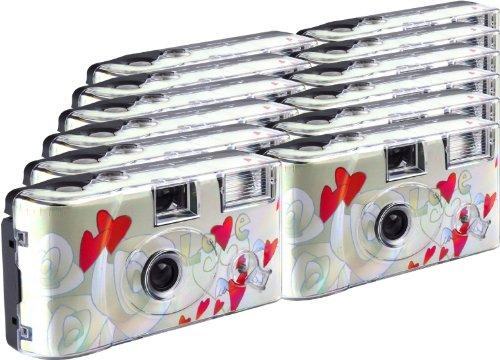 TopShot Flygande hjärtan engångskamera/bröllopskamera (27 foton, blixt, 12-pack)