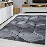 Modern Style Rug CUBIC Design Black Grey Charcoal Rugs Living Room Extra Large Size Soft Touch Short Pile Carpet Area Rugs Non Shedding (200cm x 290cm (6.6ft x 9.5ft))