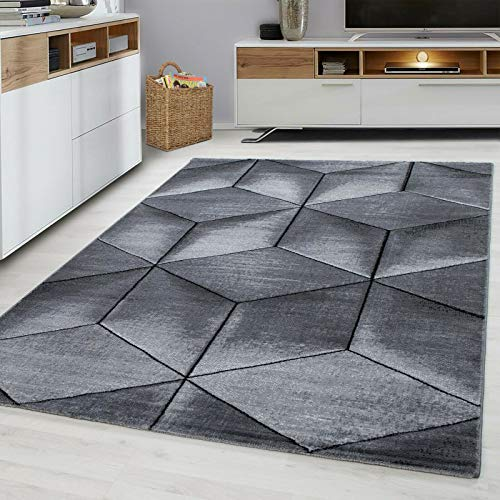 Modern Style Rug CUBIC Design Black Grey Charcoal Rugs Living Room Extra Large Size Soft Touch Short Pile Carpet Area Rugs Non Shedding (120cm x 170cm (4ft x 6ft))