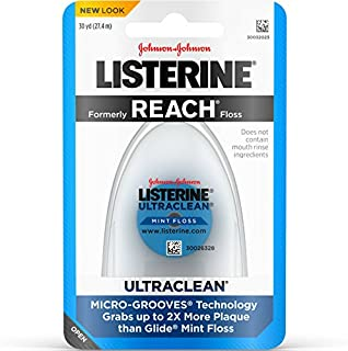Listerine Ultraclean Dental Floss, Oral Care, Mint-Flavored, 30 Yard , Pack of 6
