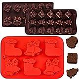 IHUIXINHE 3 Pezzi Stampini per Cioccolato in Silicone Natalizio, Include Albero di Natale, Babbo Natale, Forma di Calzino, Confezione Regalo, per Biscotti da Forno, Cioccolato, Caramelle