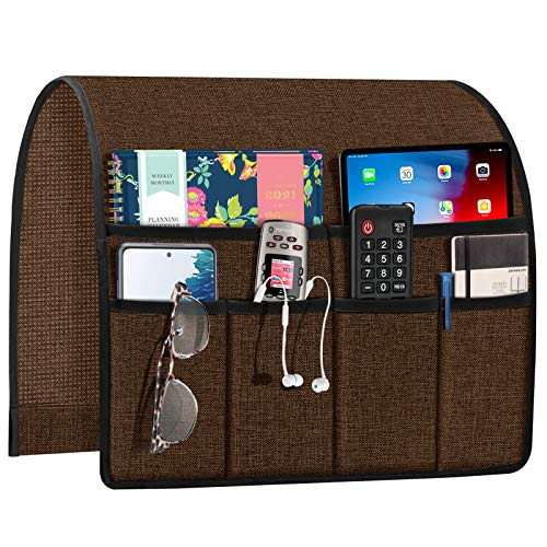 Joywell Armchair Caddy Remote Control Holder for Couch Recliner Armrest Organizer Non Slip Sofa Arm Chair Caddie with 6 Pocket Storage for Magazine, Tablet, Phone, iPad, Brown