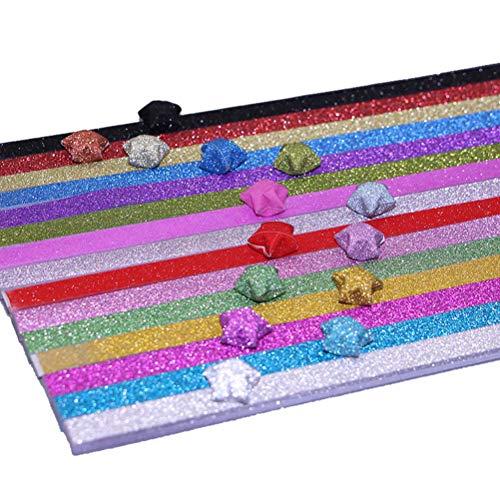 STOBOK 320 stücke Glitter Origami Star Papierstreifen Lucky Star Papier für DIY Handwerk (zufällige Farbe)