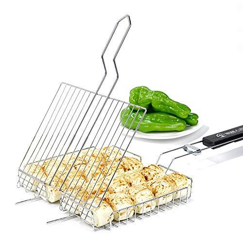 Cacoffay Grillkorb Fischbräter, Grill Fischhalter Gemüsekorb Burger Grillwender, Grillrost Grill Basket mit Abnehmbarem Griff, aus 430 Edelstahl - 62.5X30.5X2.5CM (25X12X1 Zoll)