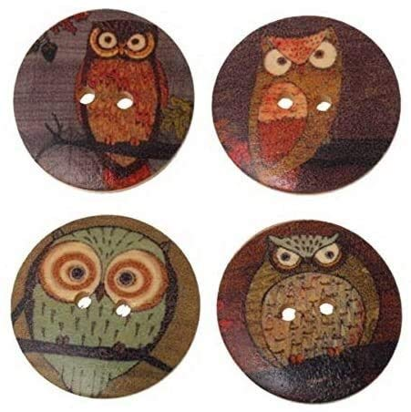 Eeayyygch 50 botones de madera de 3 cm con 2 agujeros para manualidades, forma de búhos, redondos, para manualidades, costura, tejer, ropa de bebé