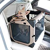 GJEASE Car Dog Free Installation Crate Large Pet Cage Out Portable Foldable Small And Medium-Sized Cat Kennel High Polymer Material, Scratch Resistant & Durable Khaki Large Size