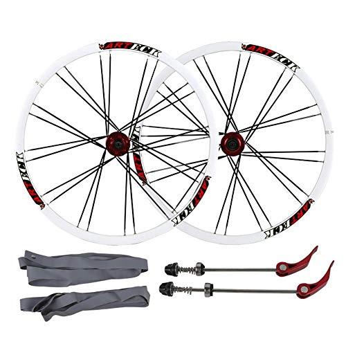 ZNND MTB Rueda de Bicicleta 26' Doble Pared Llanta Aluminio Freno de Disco Liberación Rápida Hub Wheel Blanco Negro 2342g / Par (Color : Black)