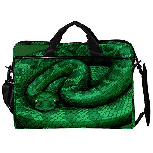 Unisex Computer Tablet Satchel Bag,Lightweight Laptop Bag,Canvas Travel Bag,13.4-14.5Inch with Buckles Green Rattlesnake
