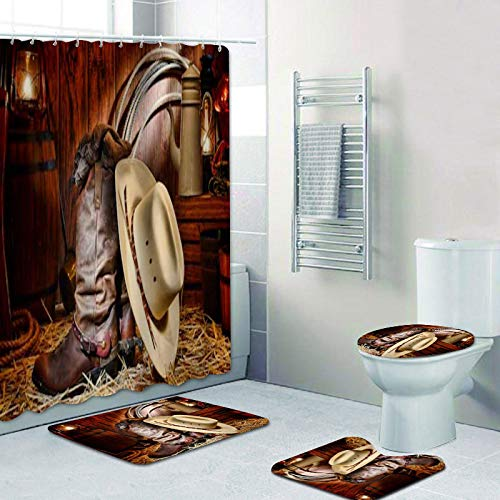 Country West Cowboy Cortina de Ducha American Country Music Juego de Cortina de baño Alfombra de baño Alfombra Alfombra Grifo de la bañera Decoración