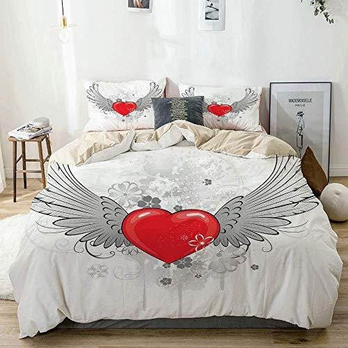Duvet Cover Set Beige,Wings with Heart Valentines Day Love Flowers Best Couple AnniversaryVermilion, Decorative 3 Piece Bedding Set with 2 Pillow Shams