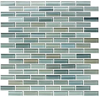 10 Sq Ft - Reflections Hand Painted Glass Mosaic Subway Tiles for Bathroom Walls or Kitchen Backsplash