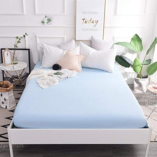 GTWOZNB Non Iron Soft Poly-Cotton Plain Dyed Flat Bed Sheet Single, King Available Cotton bed sheet single piece-sky blue a52_120*200cm