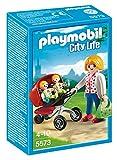 Playmobil- Mother with Twin Stroller Maman avec Jumeaux et Landau, 5573, Multicolore