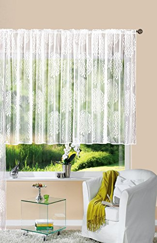 Gardine Store Jacquard Fabio HxB 175x300 cm Kräuselband Universalband Weiß Kreismuster Transparent Voile Vorhang Wohnzimmer, 13143