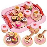 Buyger 18 Stück Spielzeug Teeservice Kaffeeservice Kinder Kinderküche Zubehör Puppengeschirr Holz ab 3 Jahre (Rosa)