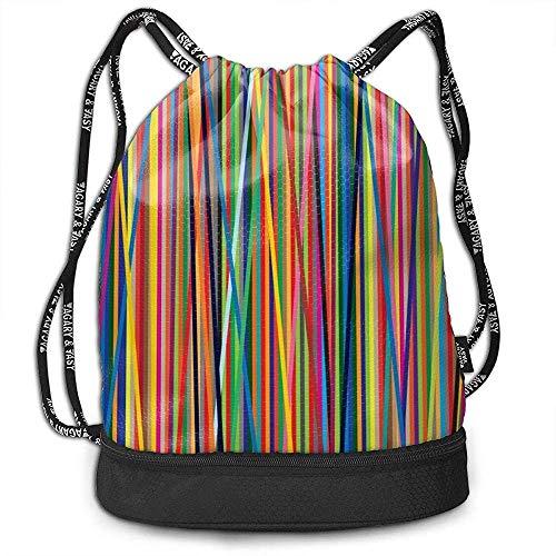 Kordelzug Rucksack, String Taschen Farbstreifen Cinch Bulk Storage für Fitnessstudio Reisen Wandern