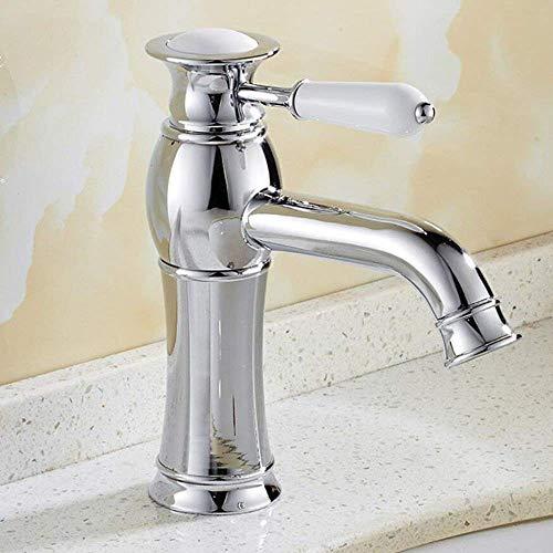 WYZXR Grifo de baño cromado país grifo de baño mezclador latón baño con asas de cerámica posición central grifo instalación grifo grifo fregadero