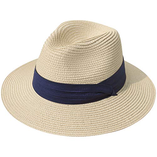 Lanzom Women Wide Brim Straw Panama Roll up Hat Fedora Beach Sun Hat UPF50+ (Z-Navy Ribbon Khaki)