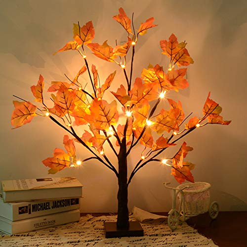 S-Union Artificial Fall Lighted Maple Tree 24 LED Thanksgiving Christmas Decorations Table Lights Battery Operated for Christmas Wedding Party Gifts Indoor Outdoor Harvest Home Decor