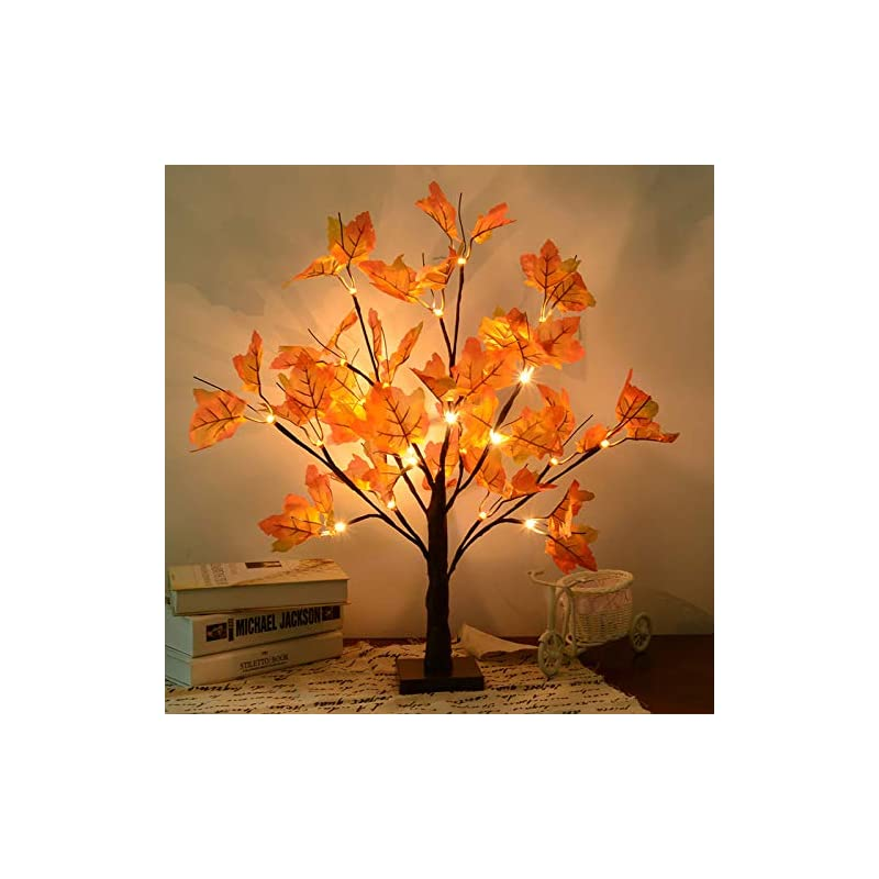 silk flower arrangements s-union artificial fall lighted maple tree 24 led thanksgiving christmas decorations table lights battery operated for christmas wedding party gifts indoor outdoor harvest home decor