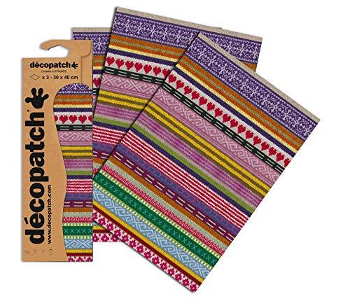 Decopatch Papier No. 612 (violett Strick Herzen, 395 x 298 mm) 3er Pack