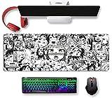 Großes Anime Ahe-gao Mauspad, erweitertes Gaming-Mauspad, lang, rutschfest, Gummi, Hentai-Schreibunterlage für Computer, 30 x 80 cm