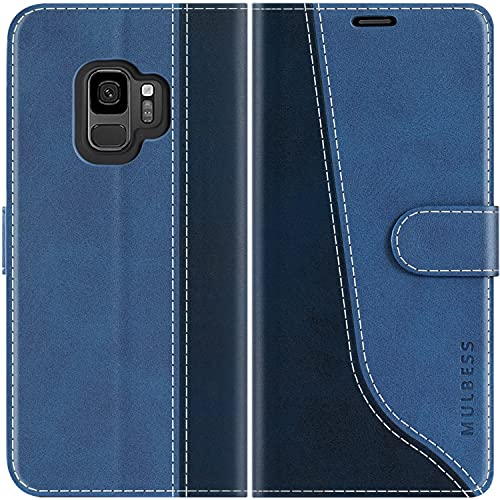 Mulbess Coque pour Samsung Galaxy S9, Coque Cuir Samsung Galaxy S9, Etui Samsung Galaxy S9 Portefeuille, Pochette Housse pour Samsung Galaxy S9 Protection, Diamant Bleu
