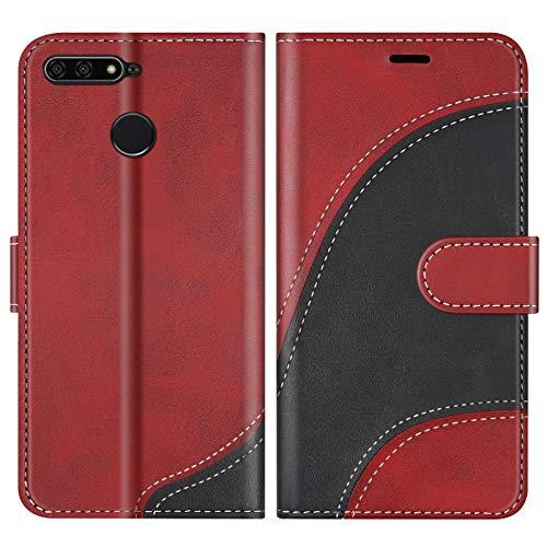 BoxTii Cover per Huawei Y6 2018 / Huawei Honor 7A, Custodia in PU Pelle Portafoglio per Huawei Y6 2018 / Huawei Honor 7A, Magnetica Cover a Libro con Slot per Schede, Rosso