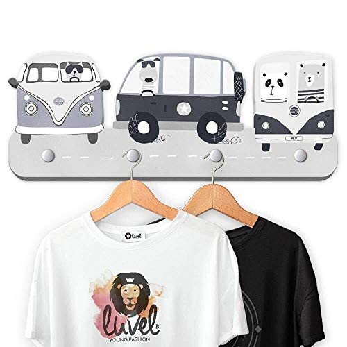 graue Dreamcars G12 - Kindergarderobe mit 4 Haken, Maße ca.: 40 x 15 x 1 cm, Wandgarderobe, Kleiderhaken, Wandhaken, Kindermöbel, Garderobenhaken, Kinderzimmer